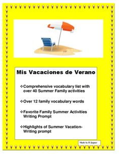 END OF YEAR - Mis Vacaciones de Verano en Familia- Summer Vacation -Spanish I from La Señora H on TeachersNotebook.com -  (9 pages)  - This interactive End of Year Lesson will allow you to have a fun project with your class. The lesson was designed to review days of the week vocabulary, family and typical Sports & Leisure activities.