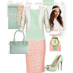 Mint  coral outfit. Don't care for the print on the skirt, but I love the colors!!