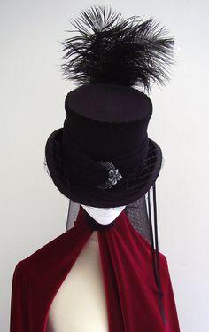 Steampunk Bella Neo Victorian Rigid Riding Top Hat by Blackpin, £85.00