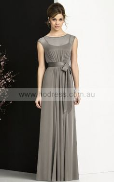 Cap Sleeves Buttons Jewel Floor-length Chiffon Formal Dresses b140581