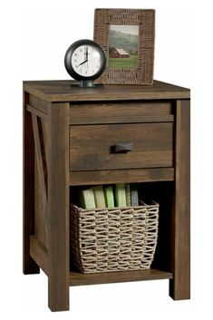 Ameriwood Home Farmington Night Stand - Complete your bedroom with the Ameriwood Home Farmington Nightstand. Inspired by the farmhouse style, this rustic Nightstand resembles a wooden barn door and adds a unique touch to your space. Country Themed Bedrooms, Bedroom Themes, Bedroom Ideas, Bedroom Designs, Wooden Barn Doors, Barn Wood, Pine Nightstand, Bedside Tables, Mdf Frame