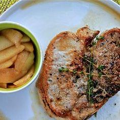 Roasted Pork Chops with Drunken Honeycrisp Apples