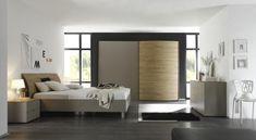 Modern bedside cabinet in white/honey oak top