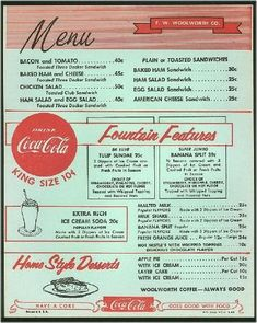 Vintage Woolworth s menu Use as template to design sock hop menu Use as reference for authentic menu items 1950 Diner, Vintage Diner, Retro Diner, Vintage Menu, Vintage Restaurant, Vintage Recipes, Vintage Ads, Retro Ads, Retro Advertising