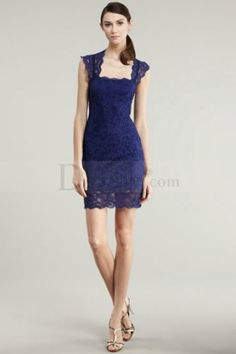 Graceful Sheath Cocktail Dress Holding Sophisticated Lace Ornament