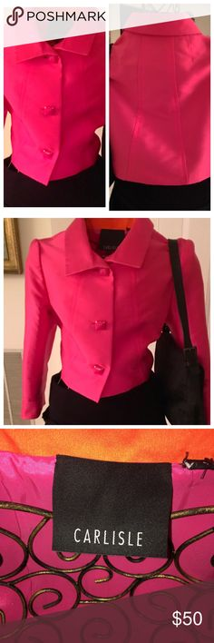 Carlisle Cropped silk fuchsia Jacket. Ladies, check out this new without tags stunning silk crepe fuchsia cropped Jacket in a size 2. It is a year round jacket. It is very flattering and goes with everything. Notice the funky buttons Carlisle Jackets & Coats Blazers