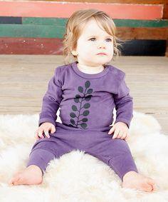 Purple Kowhai Fantail Organic Bodysuit
