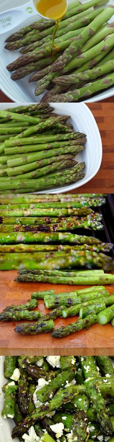 Grilled Asparagus and Feta Salad: ¼ cup feta cheese, 1 bunch asparagus, 1 tablespoon lemon juice and 1 tablespoon lemon zest, 3 tablespoons olive oil, ¼ tablespoon salt, ¼ pepper.