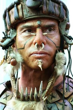 """Aztec Priest Inspired by Mel Gibson's movie """"Apocalypto"""", this . We Are The World, People Of The World, Maya Art, Tribal Face, Aztec Culture, Aztec Warrior, Inka, Aztec Art, Mesoamerican"""