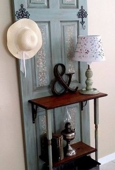 40 Creative Ways to Repurposed an Old Door - Vintage furniture that reuses and recycles old wood doors looks attractive and original. Creative recycled crafts and furniture design projects offer great inspiration for recycled old door tables by Joey Door Furniture, Furniture Makeover, Chair Makeover, Furniture Refinishing, Old Door Tables, Door Hall Trees, Door Tree, Home Crafts, Diy Home Decor