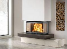 montegrappa slide 3 Sided Fireplace, Home Fireplace, Fireplace Design, Fireplaces, Reggio Emilia, Split Level Remodel, Wood Burner, Living Room Designs, Home Office