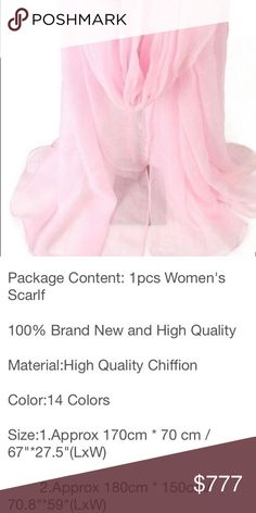 LongChiffonLooseFormLovelyScarfWrapBeachEveCoverup So fresh and cool this blushing pink chiffon oh-so-drape-ready for over any outfit to truly MAKE it special in an instant! Stashing it in a travel bags in several colors seems a must! Comes in numerous colors, ask! All available to order! Xo pink and grey on way to ascertain size and check but nice quality is expected 💓🌸😘🤞🙏💓 Accessories Scarves & Wraps