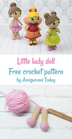 This little lady doll amigurumi is just seven inches tall and it's dressed to impress! Make it for your little princess with the help of our doll crochet pattern. Crochet Animal Amigurumi, Crochet Bear, Cute Crochet, Amigurumi Patterns, Amigurumi Doll, Crochet For Kids, Crochet Crafts, Knitted Dolls, Crochet Dolls