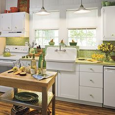 50 Cool Green and Yellow Kitchen Designs: 50 Cool Green And Yellow Kitchen Designs With Wooden Kitchen Countertop And Green Backsplash Design 1930s Kitchen, Vintage Kitchen Cabinets, Classic Kitchen, Wooden Kitchen, Country Kitchen, Green Kitchen, New Kitchen, Kitchen Decor, Kitchen Ideas