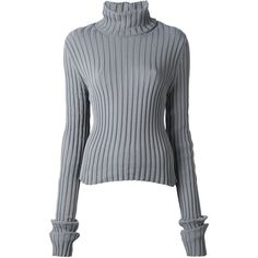 Vetements Ribbed Turtle-Neck Sweater (2.925 NOK) ❤ liked on Polyvore featuring tops, sweaters, grey, jumper, shirts, grey turtleneck sweater, turtleneck sweater, turtle neck sweater, gray turtleneck sweater and shirt sweater