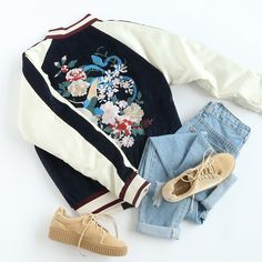 Rock a floral bomber jacket with everything! #jacket #bomberjacket #streetfashion #chic #outfit #romwe