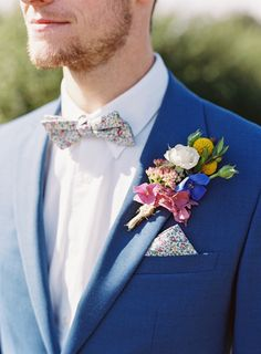 Floral Liberty Print 'Eloise' Bow Tie & Pocket Square - Image by Ann-Kathrin Koch Photography - Lace Lusan Mandongus and Belle & Bunty bridal gowns for a welsh speaking rustic wedding in Snowdonia Wales by Ann-Kathrin Koch photography