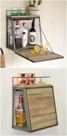 homedecor ideas 14 brilliant storage ideas for small spaces - Floating bar cabinet Tiny House Storage, Small Space Storage, Extra Storage, Storage Spaces, Apartment Kitchen Storage Ideas, Small Apartment Organization, Studio Apartment Storage, Organizing, Diy Apartment Decor