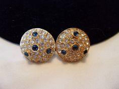 Hattie Carnegie Earrings Blue Glass Cabochon Diamante Rhinestone Gold Plate Clips Vintage by AnnesGlitterBug on Etsy