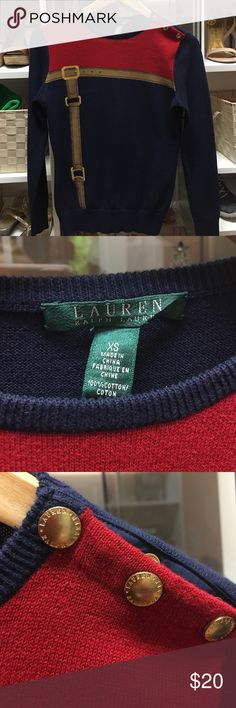 LAUREN by Ralph Lauren Equestrian Theme Sweater Very cute 100% cotton Ralph Lauren equestrian themed sweater with gold-tone, branded snap buttons on the left neck/shoulder. Very good condition, and recently back from the dry cleaners. Lauren Ralph Lauren Sweaters Crew & Scoop Necks
