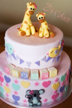 Giraffe, birds, blocks, koalas baby shower cake by 2bi Cakes
