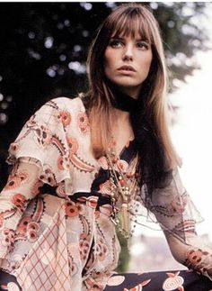 Jane Birkin in Ossie Clark, photographed by Patrick Lichfield for Vogue UK, November 1967.
