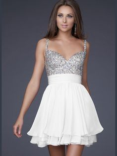 White La Femme 16813 Jeweled Bus Cocktail Length Prom Dress