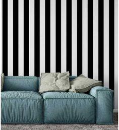 Papel de parede com listras preta e branca com 9 cm - Listrado 136