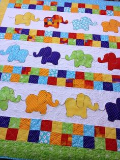 Handmade Baby Quilts For Sale from Carolyn's Homesewn in Sandown NHFree Motion Quilting Designs For Baby Quilts Hand Quilting Patterns For Baby Quilts Quilting Designs For Baby Quilts Elephant Baby Quilt From Http WwwhomesewnbycarolyncomElephant Ba Colchas Quilting, Quilting Projects, Quilting Designs, Quilt Design, Baby Girl Quilts, Girls Quilts, Quilt Baby, Kid Quilts, Amish Quilts