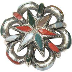 Victorian Antique Silver Scottish Agate Brooch