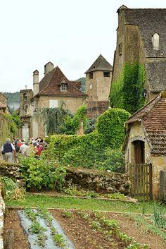 Vegetable garden in Autoire, Lot,  Midi-Pyrenees, France