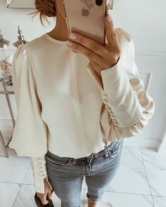 Women Buttoned Balloon Sleeve Blouses New Autumn Winter Solid Round Neck Chic Elegant Tops Office Ladies Casual Basic Blouse Estilo Fashion, Basic Tops, Office Ladies, Looks Style, Mode Style, Pattern Fashion, Blouses For Women, Women's Blouses, Sleeve Styles
