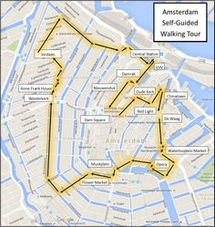 One Day in Amsterdam self guided walking tour map