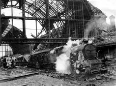 How boy survived bombing of Middlesbrough Railway Station - Middlesbrough Railway Station five minutes after bombing Middlesbrough England, Berlin, Stockton On Tees, British Rail, British Isles, Unseen Images, Disused Stations, 10 Year Old Boy, The Blitz