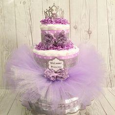 3 Tier Pink & Gold Little Princess Diaper Cake Baby Shower Gift Centerpiece-Girl Lavender Princess Tutu Diaper Cake Baby Shower Cakes, Regalo Baby Shower, Baby Shower Diapers, Baby Shower Parties, Baby Shower Themes, Baby Shower Gifts, Diaper Shower, Shower Ideas, Lavender Baby Showers