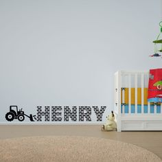 Boy's Name in Brick Tractor Vinyl Wall Art Decal for Kids and Children's Nursery #home  #decals #stickers #vinyl #DIY #wallart #wallstickers #patterns #kids #children #nurserydecor #boys #personalised #tractor #bricks