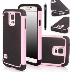 E LV Hybrid Dual Layer Slim Armor Defender Protective Case Cover (Hard Plastic with Soft Silicon) for Samsung Galaxy S5 i9600 with 1 Black Stylus, 1 Screen Protector and 1 E LV Microfiber Sticker Digital Cleaner (Samsung Galaxy S5, Baby Pink): Amazon.ca: Cell Phones & Accessories