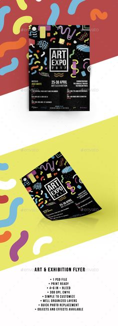 Art & Exhibition #Flyer - Events Flyers Download here: https://graphicriver.net/item/art-exhibition-flyer/19699518?ref=alena994