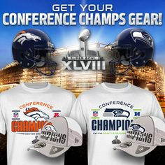 The matchup is set! Check out all of the Conference Champs and Super Bowl XLVIII Gear at NFL Shop: http://www.nflshop.com/source/ak1933nfl-pin-sbmatchup-12014