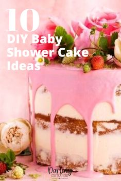 Easy to make DIY Baby Shower Cakes. Get full recipes and instructions for 10 of the prettiest DIY Baby Shower cake ideas. #babyshowercakes #DIYbabyshowercakes #DIYbabyshowercakeideas Tea Party Baby Shower, Baby Shower Winter, Amazing Baby Shower Cakes, Cake Works, Pink Food Coloring, Pink Foods, Strawberry Cakes, Sweet Cakes, Pretty Cakes
