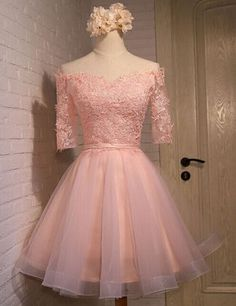 Homecoming Dresses With Sleeves, Homecoming Dresses Lace, Homecoming Dresses Short, Prom Dress Pink Homecoming Dresses 2018 Lace Homecoming Dresses, Prom Party Dresses, Dress Prom, Bridesmaid Dress, Freshman Homecoming Dresses, Party Gowns, Wedding Dresses, Dresses Short, Formal Dresses