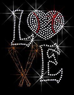 LOVE Softball Bat Iron on Rhinestone Transfer Hot by BlingPalace 84a979273731
