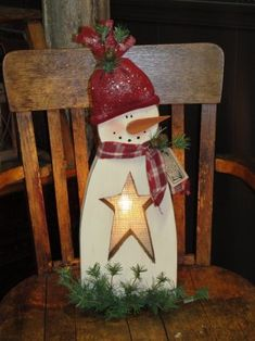 Primitive Snowman with Burlap Star and Light