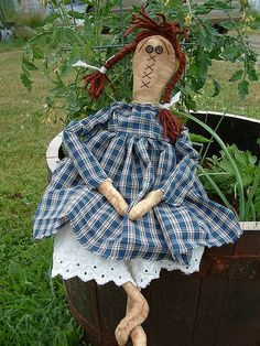 Primitive FolkArt Style raggedy doll