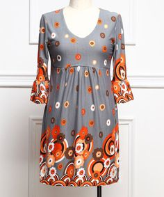 Loving this Charcoal & Orange Daisy Empire-Waist Dress - Plus on #zulily! #zulilyfinds  Love this!!