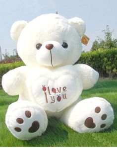 New Giant White Huge Plush Teddy Bear Big Stuffed Animal Doll Soft Toy Gift Teddy Bear With Heart, White Teddy Bear, Cute Teddy Bears, Teddy Bear Images, Teddy Bear Pictures, Big Stuffed Animal, Stuffed Animals, Hello Kitty Toys, Big Plush
