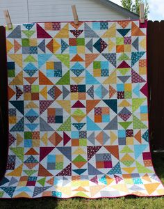 Are you back for more Four Patch fun? What did you think of last week's quilt? Now this one combines three of my favorite blocks: Four Patch, Flying Geese, and Birds in the Air. We're a birding family