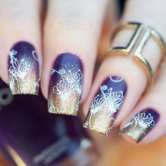 """Urban Nail Art - Australia on Instagram: """"Hi guys For today's floral design I used:  Two stunning #zoya polishes I got from @zoyanailpolishaustralia. These are from a new 'Focus and Flair' collection - deep purple cream 'Lidia' and duochrome shimmer 'Aggie' 'Aggie' being a regular nailpolish, stamps amazingly over black www.zoya.com.au  'Speed up' fast drying top coat, white stamping polish @urbannailart #myzoya  @uberchicbeauty stamping plate UC 06-2  @messymansion clear stampe"""