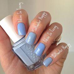 Bikini So Teeny vs Saltwater Happy. My 2 favorite light blues from Essie 💋 Essie Nail Colors, Essie Gel, Uv Gel Nails, Diy Nails, Cute Nails, Pretty Nails, Acrylic Nails, Glitter Nails, Nail Polish Dupes