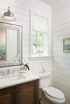 Shiplap Bathroom Painted In White Dove OC 17 By Benjamin Moore. Shiplap  Boards Are